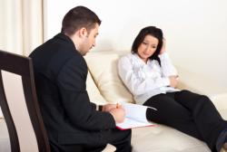 Men talking to an depressed woman